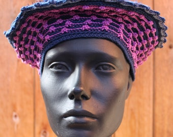 Navy Blue & Pinks Crocheted Hat with a Cute Pink Flower Pin...