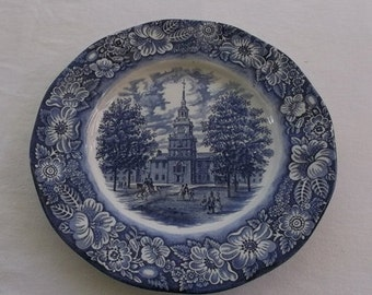 Vintage Plate, Blue Delft, Cobalt Blue Plate,Blue Willow Liberty Blue Independence Hall, Staffordshire England