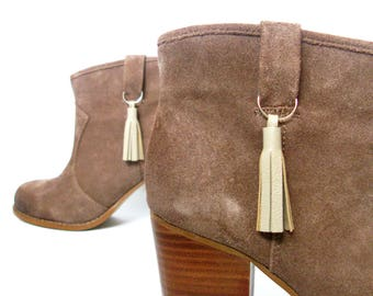 """2"""" Leather Footwear Tassels- Set of 2   Leather Boot Charms   Tassels For Boots   Boot Fringe   Zipper Pull   Zip Key Ring   Boot Tassles"""
