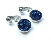 Midnight Blue Druzy Clip On Earrings - Non Pierced Ears