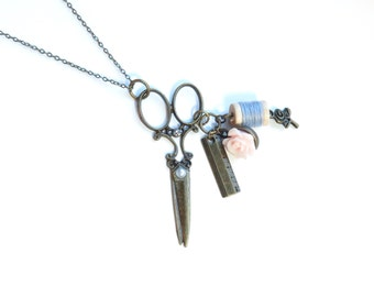 Scissors and Thread Antique Brass Necklace