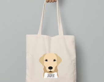 Personalize dog tote, Yellow Lab canvas tote bag, custom name