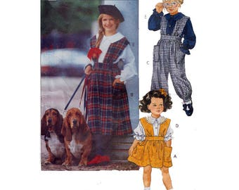 """Child's Little Vogue EASY Jumper & Jumpsuit and Blouse Vintage Girl's Sewing Pattern Size 4-6 Breast 23-25"""" (58-64 cm) Vogue 8154 S"""