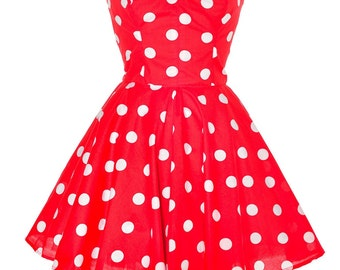 Clearance Sale Red Polka Dot Party Dress