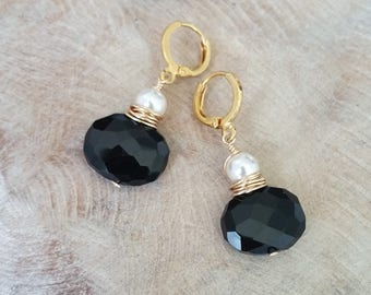 Gold Black Garnet and Pearl Earrings