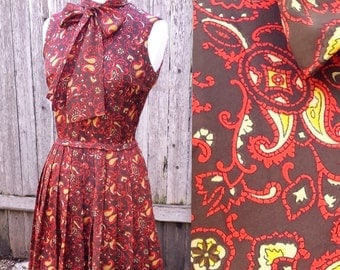 Vintage Brown Paisley Mad Men Bow Tie Dress