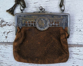 Small Purse. Leather, Silver Brass Frame. Vintage Antique 1800s. Victorian Edwardian Coin Purse. Chatelaine.