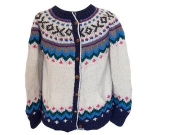 Vintage Handmade Fair Isle Cardigan Sweater Ecuadorian Handspun Wool Size Large