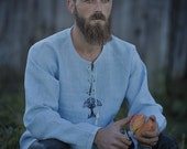 Linen man shirt in viking style with ancient embroidery, celtic medieval tunic, elf tree embroidery, design shirt