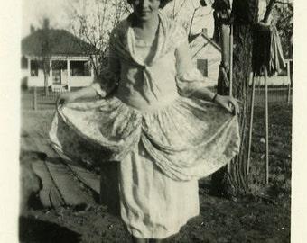"Vintage Photo ""Showing Off New Threads"" Girl Dress Snapshot Antique Photo Old Black & White Photograph Found Paper Ephemera Vernacular - 157"