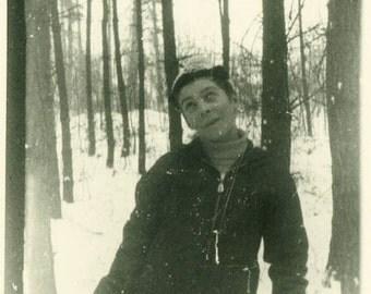 "Vintage Photo ""The Goofy Winter Wonderer"" Snapshot Antique Photo Old Black & White Photograph Found Paper Ephemera Vernacular - 163"