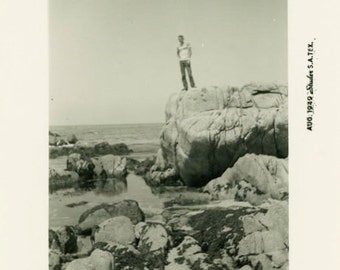 "Vintage Photo ""Robbie at the Rocky Beach"" Snapshot Antique Photo Old Black & White Photograph Found Paper Ephemera Vernacular - 42"