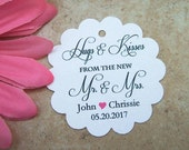 Hugs and Kisses Wedding Favor Tags / Mr. and Mrs. Tags / White, ivory.  Custom tags.  You choose color.