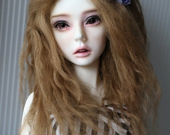 1/3 Size Light Brown Tibetan Mohair Wavy Wig for Volks BJD SD and Pullip Dolls