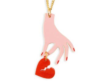 Hand with Broken Heart Necklace - Heartbreaker Pink Red Weird Kitsch Kitschy Gold Kawaii Cute Harajuku Retro Perspex Acrylic