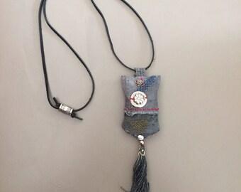 handstitched tribal nomad amulet pendant with tassel - tribal turkoman kuchi lavender pendant necklace - linen blue gray hand dyed pendant
