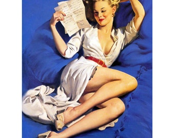 Pinup Girl Notecard - Love Letters - Too Good To Be True - Elvgren Greeting Card Valentine