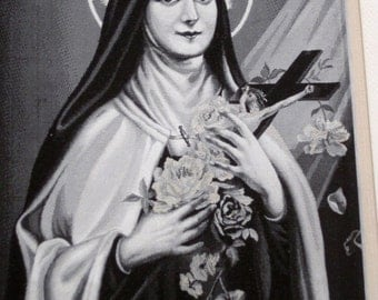 Stunning Antique French Framed Neyret Freres Stevengraph, St. Therese Of The Child Jesus Approved by Carmel de Lisieux