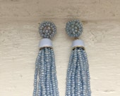 Blue earrings, beaded blue earrings, ice blue earrings, tassel earrings, dangle earrings, jcrew, jcrew earrings, earrings, jewelry