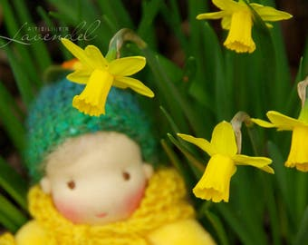 Daffodils Baby Natural Fibers Doll Waldorf Baby Boy Pocket Doll  7 in Cuddle Doll Soft Toy,  organic doll by Atelier Lavendel, ECO friendly