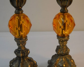 Vintage Cast Brass Candleholders With Amber Diamond Cut Acrylic Lucite Footed FREE SHIPPING