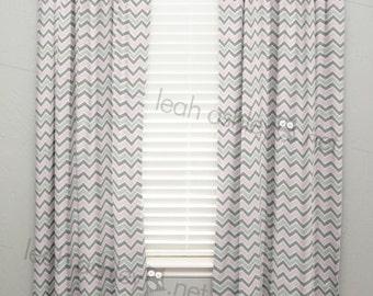 Curtain Panel - Baby Pink Gray Chevron - C1