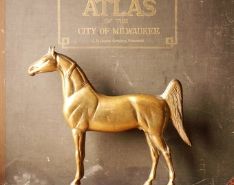 Vintage Cast Brass Horse Doorstop - Kings' Genius from Rife-Loth Corp - Signed 1938