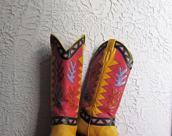 80's Vintage Beverly Feldman Colorful Cowboy Boots 8.5 made in Spain
