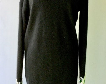 1980s SWEATERDRESS WOOL and ANGORA with Green Emerald and Silver Sequins // size M-L