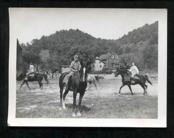 1940's vintage photograph of boy on a horse-great old snapshot
