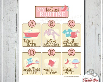 Bedtime Routine Chart | Evening Routine Chart | Night Routine | Pink | Children's Routine Chart | Girl's Chart | Instant Download