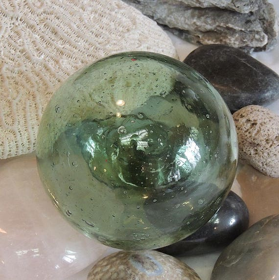 Vintage Japanese Glass Fishing Float.. Small 2.5 Inch.. Makers Mark & Bubbles (#24)