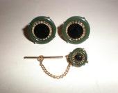 "Jade & Onyx Cuff Links -Tie Tack Set Art Deco- Mad Men Style Vintage ""SWANK"" Mid Century Eames Era Classics"