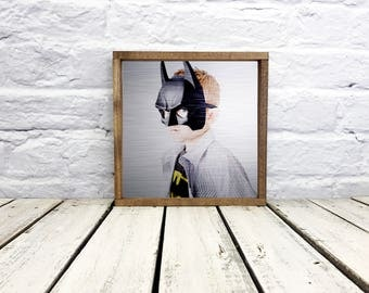 photo on wood, batman, wedding gift, boy room decor, anniversary gift, photo gift, picture of wood, tin, metal, photo gift mom, custom photo