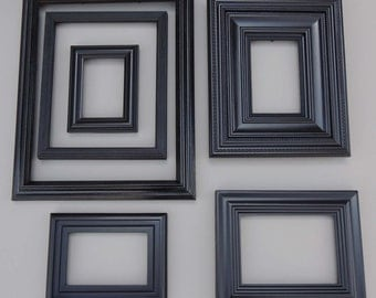 6 Black Gallery Picture Frames / Black Picture Frame Set / Wall Gallery Frames / Black Picture Frames / Frame with Glass / Frame Collection