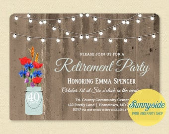 Rustic Retirement Invitation - Retirement Party Invitation - Mason Jar Barnwood & Lights Printable Invite, Retiring Surprise