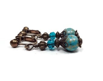 Vintage Style Teal Blue Clip on Earrings Filigree Antiqued Brass Boho Drop Screw Back