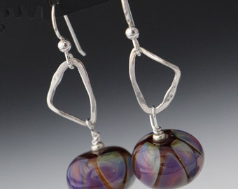Earth Tone Purple Silver Glass Bead with Silver Accent Lampworking Sterling Silver Earrings