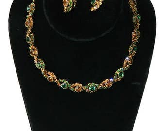 Vintage 1950s Amber and Green Rhinestone Necklace and Earring Set