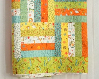 Twin Size Rail Fence Quilt - Mind Your P's and Q's - READY-2- SHIP - Homemade Quilts - Handmade Quilts