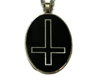 Inverted Cross Necklace Oval Pendant Black And White