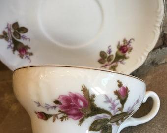 Vintage Moss Rose Teacup & Saucer Pink Footed Tea Cup Set - #11029