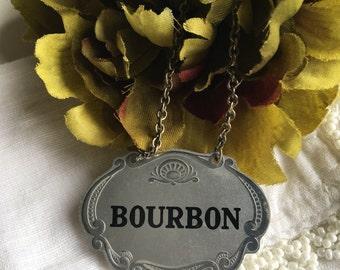 Walker's Deluxe Bourbon Decanter Tag Vintage Silver & Black Metal Liquor Label - #D2187
