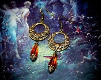 Amber Glass Hoop Earrings, Art Nouveau Earrings, topaz glass, Victorian earrings, tribal fusion, gypsy earrings, bohemian earrings, boho
