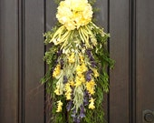 Spring Wreath-Summer Wreath-Teardrop Vertical Door Swag Decor-Yellow Hydrangea Floral Swag Yellow/Purple Artificial Florals-Indoor/Outdoor