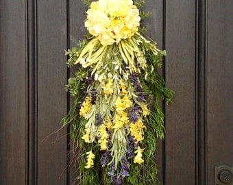 Spring Wreath-Summer Wreath-Teardrop Vertical Door Swag Decor-Yellow Hydrangea Floral Swag Yellow/Purple Artificial Florals-Indoor/Outdoor