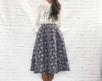 Vintage 80s Gunne Sax Floral Prairie Midi Skirt Navy Purple Pockets Ruffled M L Steampunk