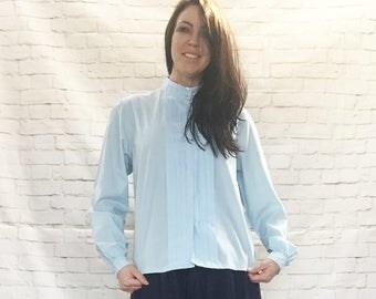 Vintage 80s Tuxedo Pleated High Collar Blouse Top Light Blue M L