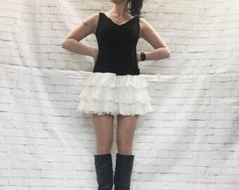 Vintage 60s Mod Tutu Ruffled Micro Mini Dress Black White S Hip Bow Leonard Arkin Chiffon Layered