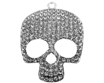 1 Extra Large Silver with Clear Rhinestones Skull Pendant | Silver Bling Skull Charm -- Lead Free 94243.B38